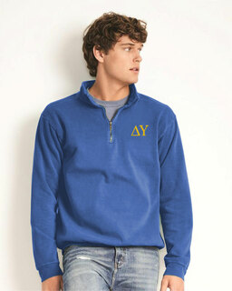 Delta Upsilon Comfort Colors Garment-Dyed Quarter Zip Sweatshirt