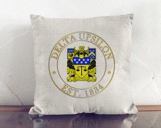 Delta Upsilon Crest Linen Pillow