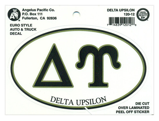 Delta Upsilon Euro Decal Oval Sticker