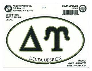 Delta Upsilon Euro Decal Oval Sticker