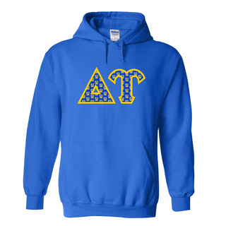 Delta Upsilon Fraternity Crest - Shield Twill Letter Hooded Sweatshirt