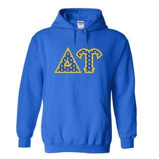 Delta Upsilon Fraternity Crest - Shield Twill Letter Hooded Sweatshirt