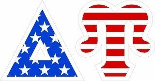 "Delta Upsilon Giant 4"" American Flag Greek Letter Sticker"