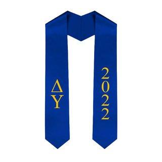 Delta Upsilon Greek Lettered Graduation Sash Stole With Year - Best Value
