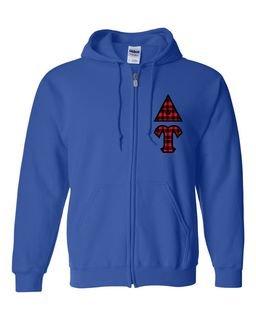 """Delta Upsilon Heavy Full-Zip Hooded Sweatshirt - 3"""" Letters!"""
