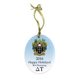 Delta Upsilon Holiday Color Crest - Shield Glass Ornament