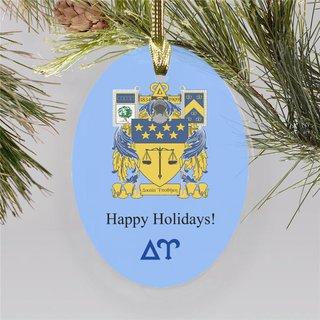 Delta Upsilon Holiday Color Crest - Shield Ornament