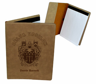 Delta Upsilon Leatherette Portfolio with Notepad