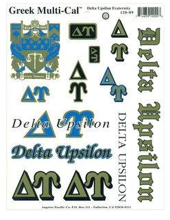 Delta Upsilon Multi Greek Decal Sticker Sheet