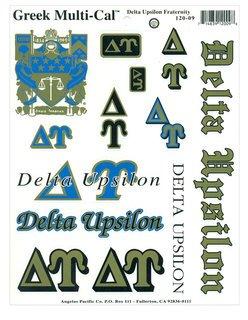 Delta Upsilon Multi Greek Decal Sticker Sheet