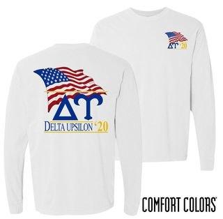 Delta Upsilon Patriot Long Sleeve T-shirt - Comfort Colors