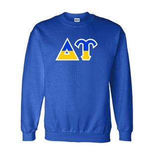 Delta Upsilon Two Tone Greek Lettered Crewneck Sweatshirt