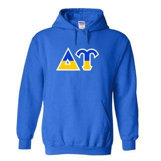 Delta Upsilon Two Tone Greek Lettered Hooded Sweatshirt
