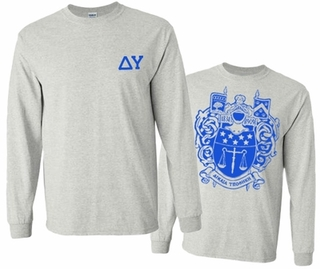 Delta Upsilon World Famous Crest Long Sleeve T-Shirt- MADE FAST!
