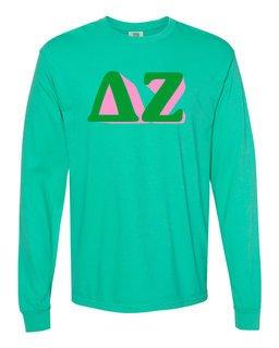 Delta Zeta 3 D Greek Long Sleeve T-Shirt - Comfort Colors