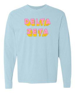 Delta Zeta 3Delightful Long Sleeve T-Shirt - Comfort Colors