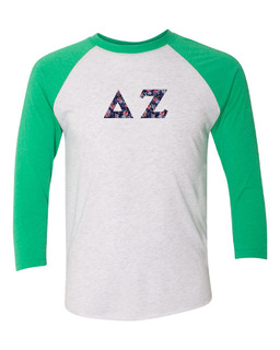 Delta Zeta Unisex Tri-Blend Three-Quarter Sleeve Baseball Raglan Tee