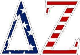 "Delta Zeta American Flag Greek Letter Sticker - 2.5"" Tall"