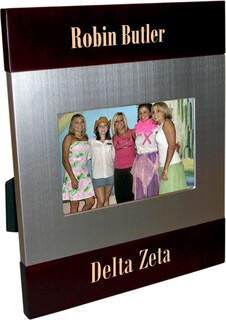 Delta Zeta Brush Silver Frame