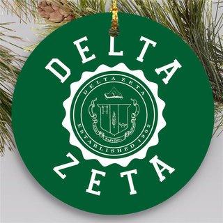 Delta Zeta Round Christmas Shield Ornament