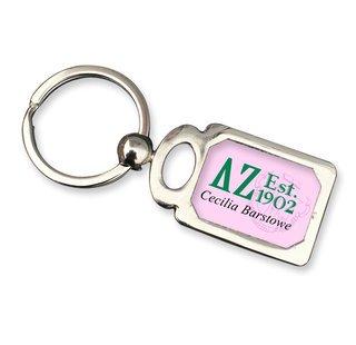 Delta Zeta Chrome Crest Key Chain
