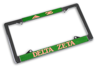 Delta Zeta Chrome License Plate Frames