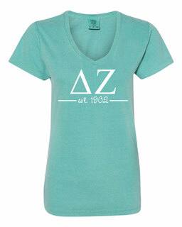 Delta Zeta Comfort Colors Custom V-Neck T-Shirt