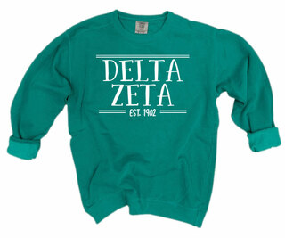 Delta Zeta Comfort Colors Custom Crewneck Sweatshirt