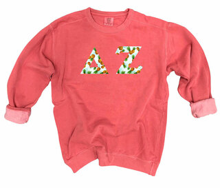 Delta Zeta Comfort Colors Lettered Crewneck Sweatshirt