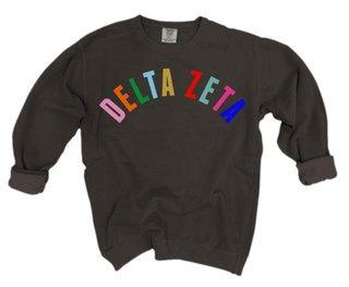 Delta Zeta Comfort Colors Rainbow Arch Crew