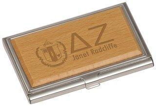 Delta Zeta Crest Wood Business Card Holder
