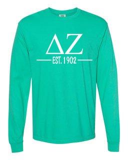 Delta Zeta Custom Greek Lettered Long Sleeve T-Shirt - Comfort Colors