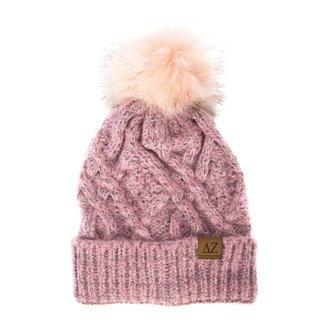Delta Zeta Faux Fur Pom Beanie Hat