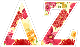 "Delta Zeta Floral Greek Letter Sticker - 2.5"" Tall"