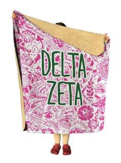 Delta Zeta Floral Sherpa Lap Blanket