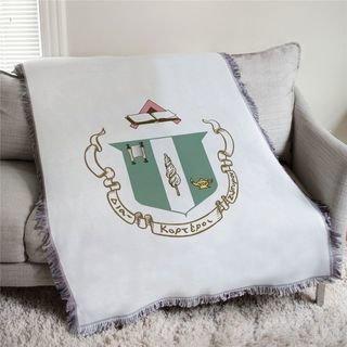 Delta Zeta Full Color Crest Afghan Blanket Throw