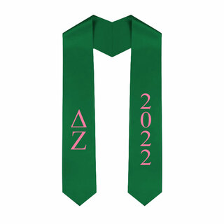 Delta Zeta Greek Lettered Graduation Sash Stole With Year - Best Value