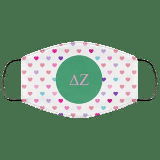 Delta Zeta Hearts Face Mask