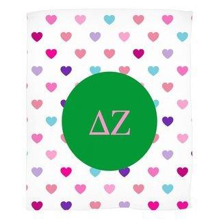 Delta Zeta Hearts Fleece Blanket
