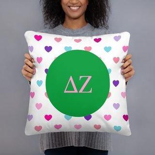 Delta Zeta Hearts Pillow