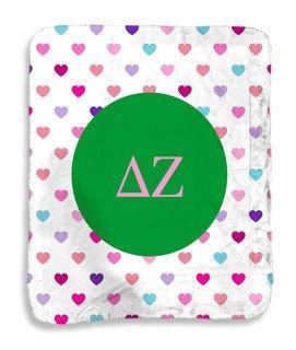 Delta Zeta hearts Sherpa Lap Blanket