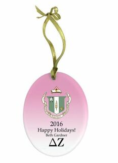 Delta Zeta Holiday Color Crest - Shield Glass Ornament