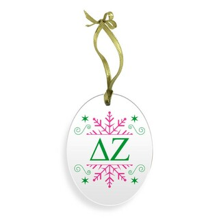 Delta Zeta Holiday Color Snowflake Christmas Ornament