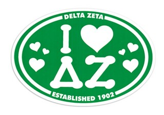 Delta Zeta I Love Sorority Sticker - Oval