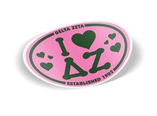 Delta Zeta I Love Sorority Sticker - Oval