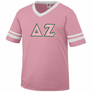 DISCOUNT-Delta Zeta Jersey With Greek Applique Letters