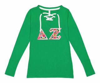 Delta Zeta LAT - Sorority Fine Jersey Lace-Up Long Sleeve T-Shirt