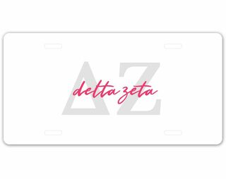 Delta Zeta Letter Script License Plate