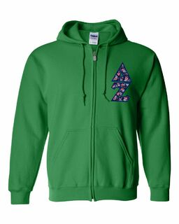 "Delta Zeta Lettered Heavy Full-Zip Hooded Sweatshirt (3"" Letters)"