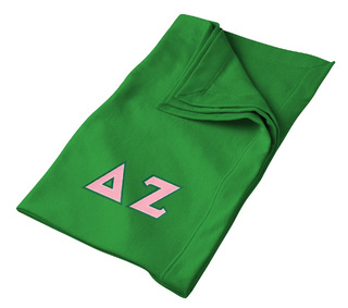 DISCOUNT-Delta Zeta Lettered Twill Sweatshirt Blanket